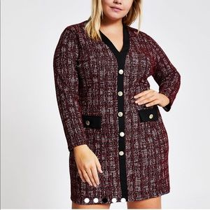 River Island Red Check Boucle Cardigan Dress